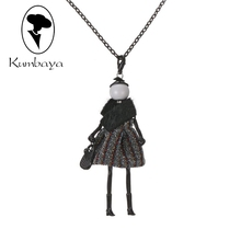 Latest New Fashion Doll Necklace! Cute Winter Leather Doll Necklace Women Accessories Jewelry Female Gifts Party Statement NS415(China)