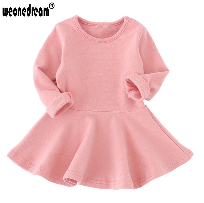 WEONEDREAM 2017 Baby Girl Dress Candy Color Long Sleeve Cotton Clothes Spring Autumn Toddler O-neck Ruffles Princess Dress(China (Mainland))