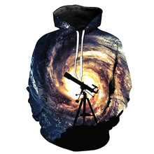 Space Galaxy Hoodies Men Harajuku 3d Print Telescope Sweatshirt Hoodie Long Sleeve Hip Hop Pullovers Tops 2017 New Fashion Hoody