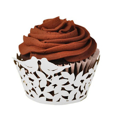 50pcs Love Birds Laser Cutting Cake Cupcake Paper Wrappers Muffin Cases Baking Cup Case Birthday Wedding Party Decor (White)