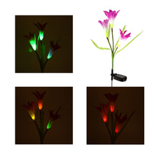 Outdoor Water Resistant Landscape Light Powerfrugal Solar Power Ni-MH Battery Color Changing 3 LED Lily Flower Lamps for Garden(China)