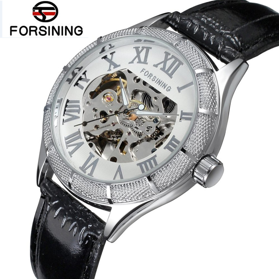 FORSINING Fashion Mens Skeleton Auto Mechanical Watch PU Leather Band Wristwatch Free Ship<br><br>Aliexpress