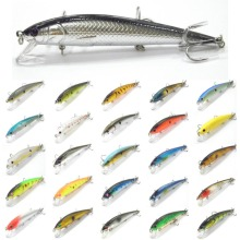 wLure Fishing Lure Minnow Crankbait Hard Bait Tight Wobble Jerkbait 12cm 18g #4 Black Nickle Treble Hooks M509