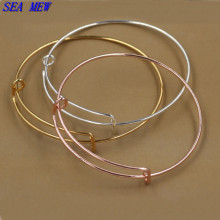 SEA MEW 65mm*1.5mm Expandable wire bangle bracelets for women 6 kinds of color plated adjustable simple wiring DIY jewelry