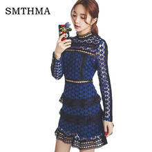 SMTHMA HIGH QUALITY Newest 2017 Summer Self Portrait Dress Women's Long Sleeve Hollow Out Cascading Lace Dress(China)