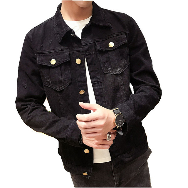 2018 New Solid Color Men Denim Jacket Fashion Spring And Autumn