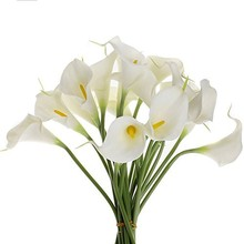 10 Head White Calla Lily Artificial Bridal Wedding Bouquet Head Latex Real Touch Artificial Flower Wedding Decoration(China)