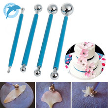 LINSBAYWU 4pcs Stainless Molding Ball Tool Sticks Sugarcraft Fondant Cake Decorating Kit Flower Molds Kitchen Dessert Decoration