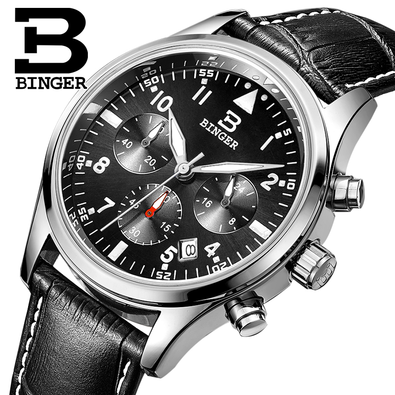 Switzerland BINGER mens watches luxury brand Quartz waterproof leather strap clock Chronograph Stop Watch Wristwatches B9202-8<br>