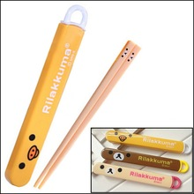 by DHL or EMS 300 pcs Rilakkuma Series Portable Chopsticks Travel Tableware Children Dinnerware for For Bento Lunch Box
