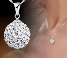 2017 Fashion Elegant Silver Necklace Female Pure Silver Crystal Ball Pendant Silver Short Birthday Present For Girlfriend Wife(China)