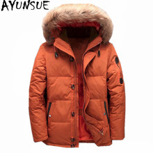 AYUNSUE 2017 Men's Down Jacket Warm White Duck Winter Coat Fur Collar Hooded Parka Padded Mens Jackets Casacos Masculino WXF370