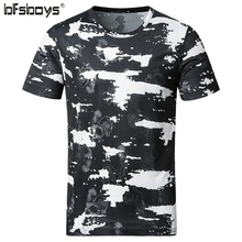 BFSBOYS 2017 New Splash Ink T Shirt Men Printed Funny Tops Short Sleeve Hiphop Shirt Variety of Fashion Male Brand 3DT-shirt