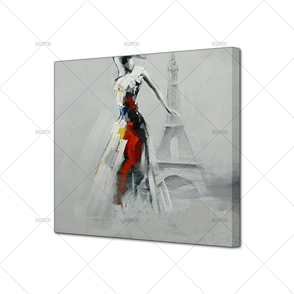 Pop-Art-Sexy-Lady-Dancing-in-Front-of-Eiffel-Tower-Oil-Painting-Modern-Knife-Painted-Painting (4)