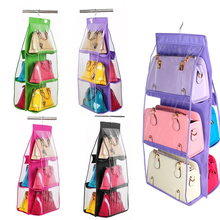 Top Family Organizer Backpack handbag Storage Bags Be Hanging Shoe Storage Bag High Home Supplies 6 Pocket Closet Rack Hangers(China)