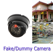 4pcs/lot Indoor Dummy Fake Dome Security Camera with Flashing LIGHT Surveillance black For Office Garden Store Wholesale(China)