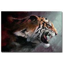 NICOLESHENTING Tiger Head Nature Art Silk Poster Print Landscape Pictures For Home Room Decor Black White 004