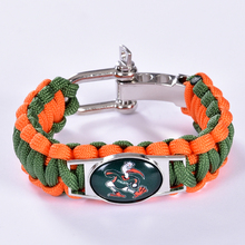 Miami Hurricanes Custom Paracord Bracelet NCAA College Football Charm Bracelet Survival Bracelet, Drop Shipping! 6Pcs/lot!