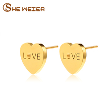 SHE WEIER Simple Love Gold Color Stainless Steel Earings For Women Christmas Present Earings Fashion Jewelry 2017 Heart Earrings(China)