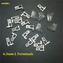 HARBLL 40PCS 6.3mm Right Angle Flag L Type Crimp Terminal Spade Connector + Cover
