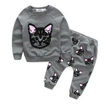 2016 Hello Kitty Girls Clothing Sets Kids Cat Terry Sweater Pants Outfits Clothes Sets Kitten Printed T-shirt Tops+Pants(China)