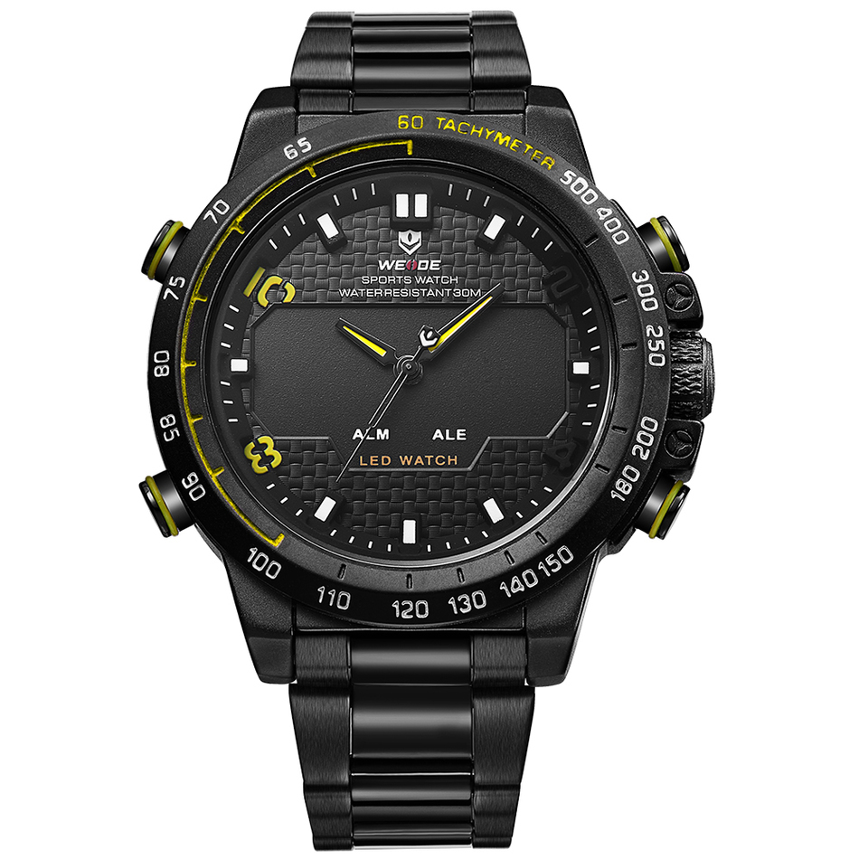 Sports Military Watch Multifunctional Quartz Men Watches Stainless Steel Silver Waterproof Mens Wristwatches Luxury Brand WEIDE<br>