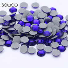 1440pcs/lot Eco-friendly lead free Lower 90PPM Hot Fix Rhinestone Round Sapphire Color Iron on Rhinestone baby studs(China)