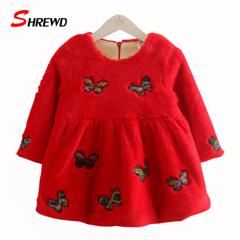 Children Dress Girls 2017 New Winter Fashion Butterfly Baby Girl Dress Plus Velvet Thick Long Sleeve Kids Clothes Girls 4332Z<br><br>Aliexpress