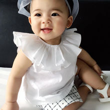 Summer Newborn Infant Baby Kids Girls T-shirt White Shirt Casual Ruffle Collar Cute Baby Girls Tops 0-3Y