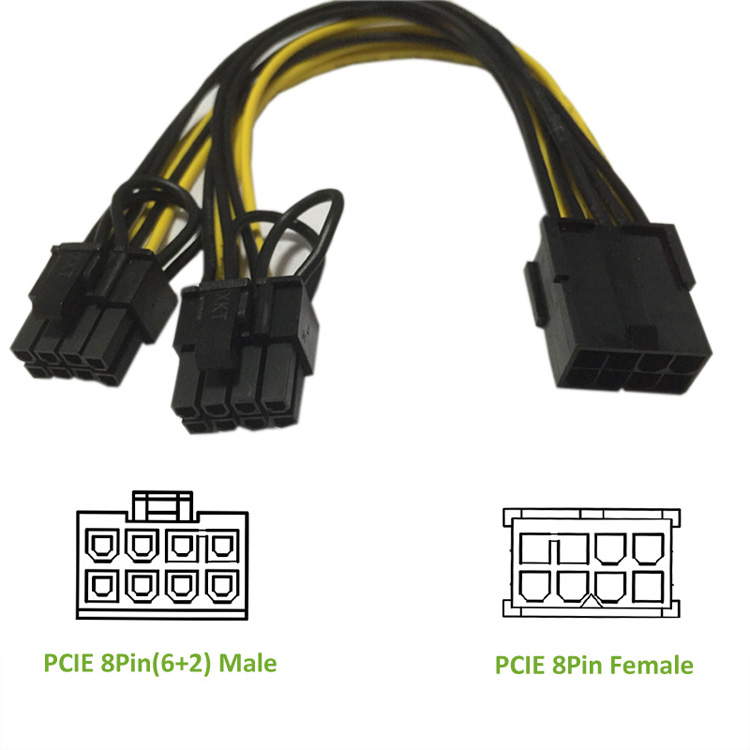 PCIE 8P Female to 2 Port Dual 8pin 6P+2P Male (16)