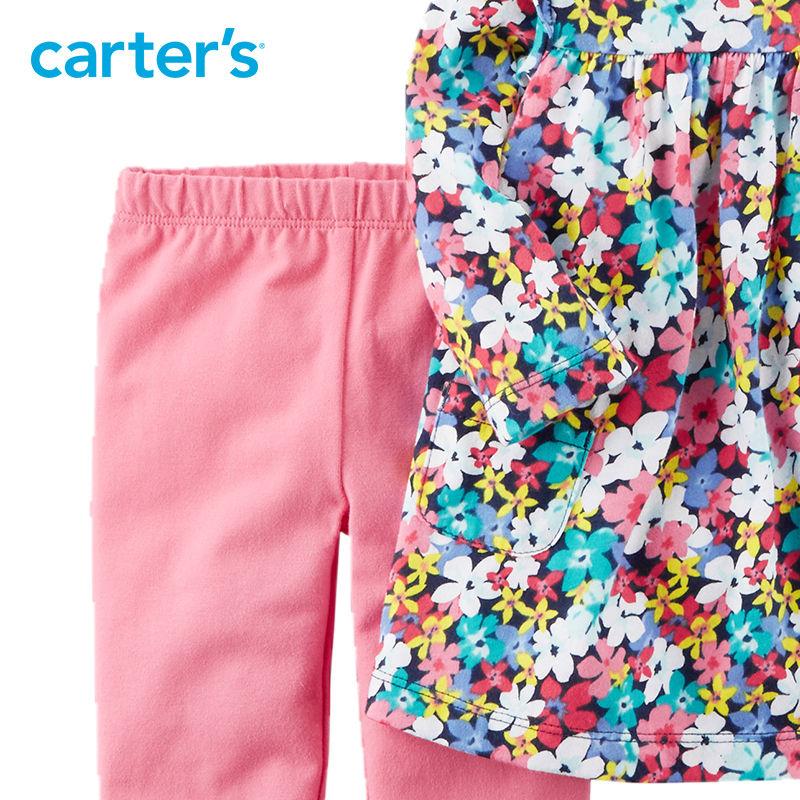 2 pcs Floral Imprimer Flutter Robe et Legging Ensemble de Carter bébé fille vêtements ensembles Printemps D'été 121I333 13