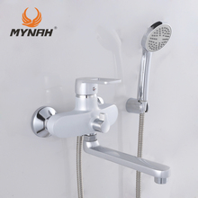 MYNAH Russia free shipping Classic Style Bathroom Shower Faucets Bathtub Faucet Mixer Tap With Hand Shower Sets shower faucet
