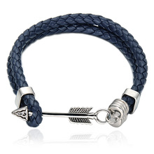 Top quality fashion jewelry stainless steel anchor arrow power wristband leather weaving bangle magnetic buckle bracelet(China)