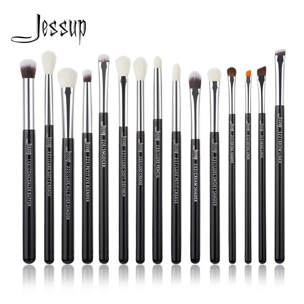Jessup Mawar Carmin Perak Riasan Brushes Set Profesional Kuas Make Up Merek Hitam Makeup Alat Kit Eye Liner