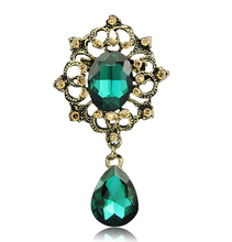H:HYDE Vintage Brooches Pin with Large CZ Stone Pendent waterdrop Rhinestone Unique Red jewelry Green jewelry 4 colors
