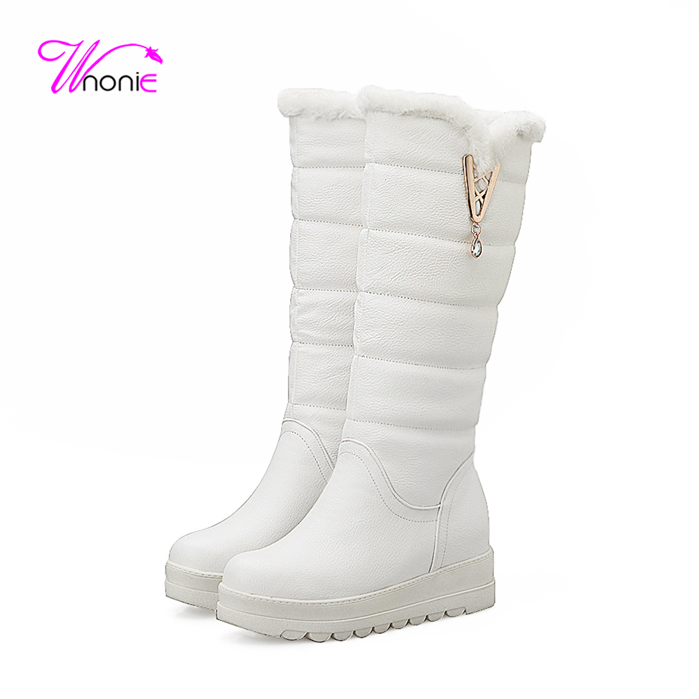 2017 Fashion Woman Snow Boots Height Increasing Wedge Platform PU Round Toe Warm Plush Casual Party Knee High Winter Ladies Shoe<br>