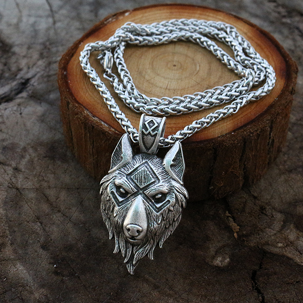 viking wolf head  pendant norse wolf symbol men necklace Ancient silver jewelry