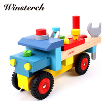 Baby Wooden Train Dragging Truck Toy Children Kids Educational Diecasts Toys Vehicle Blocks Set ZS017(China)