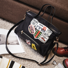 Women Canvas Bag Shoulder PU Leather Punk Style Beat Badge Handbags Ladies Casual Tote Handbag Patch Messenger Travel Bags 151