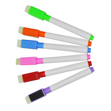 10pcs Whiteboard Marker Magnetic Whiteboard Pen Dry Erase White Board Markers Magnet Pens Built In Eraser Office School Supplies(China)