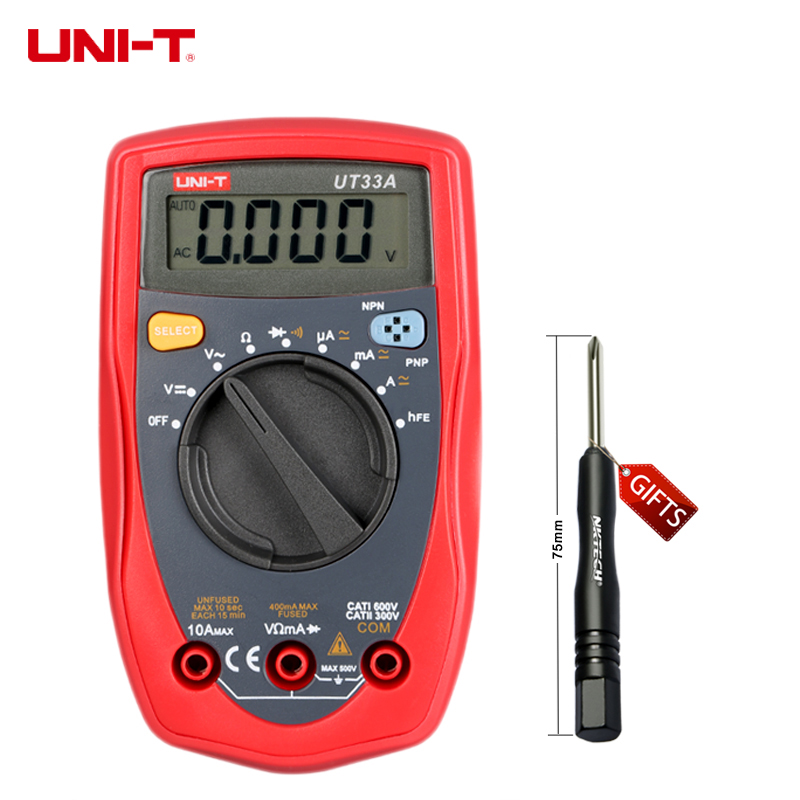 UNI-T UT33A Palm Size Digital Multimeters LCD Display DC/AC Multi Meter Volt Amp testers<br><br>Aliexpress