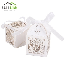WITUSE 100 pcs Cheap Sale Red/ White/ Gold/ Navy Blue Laser Cut Wedding Favor Boxes Candy Box Casamento Wedding Favors And Gifts(China)