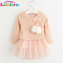 Keelorn Baby Girl Dress 2017 New Casual Autumn Baby Clothes Long Sleeve Plaid Bear Straps Fake Two Piece Dress baby girl clothes(China)