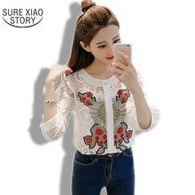 2017 spring and summer new Korean style blouse retro embroidered flowers hook flowers hollow lace shirt blusas  531H 30