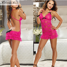 2017 Women Lace Hollowed out sexy babydolls hot sale rose red erotic cheap lingerie E2