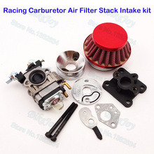 Red Performance Carburetor Carb Air Filter Stack Kit For 47cc 49cc Mini Moto ATV Pocket Bike Motorcycle Motocross