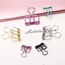 10 Pcs/lot Novelty Solid Color Hollow Out Metal Binder Clips Notes Letter Paper Metal Clips Office Supplies Folder JZ01