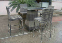 5pcs Hand-Woven Grey Rattan Bar Set , Resin Wicker Patio Bar Furniture