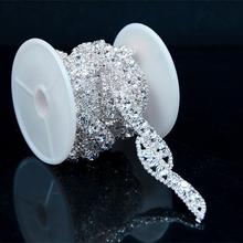1 Yard Stunning Crystal Rhinestone Trim Silver Stone Chain Applique Bridal Dress Trim Decoration R2120Y