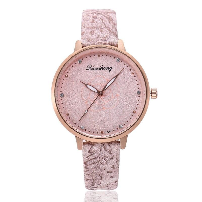 High Quality women fashion casual watch luxury dress ladies Leather Band Analog Quartz Round Wrist Watch clock bracelet M21 (2)